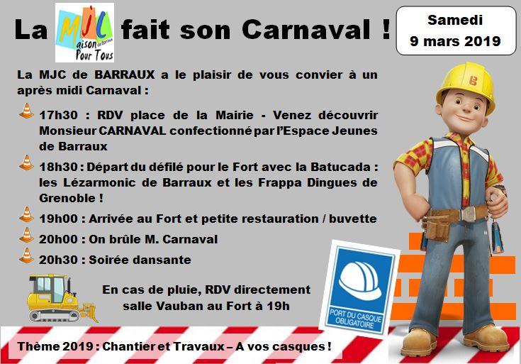 La MJC de BARRAUX fait son carnaval